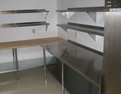 Steel tables and shelves, kitchen equipment